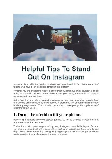 Stand Out On Instagram - Helpful Tips