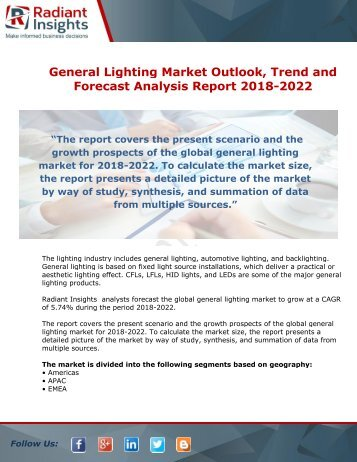 General Lighting Market Growth And Analysis Report 2018-2022