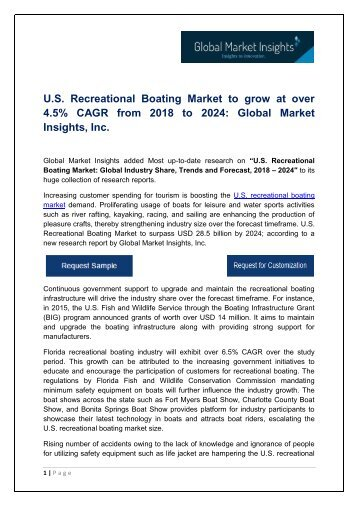 U.S. Recreational Boating Market to grow at over 4.5