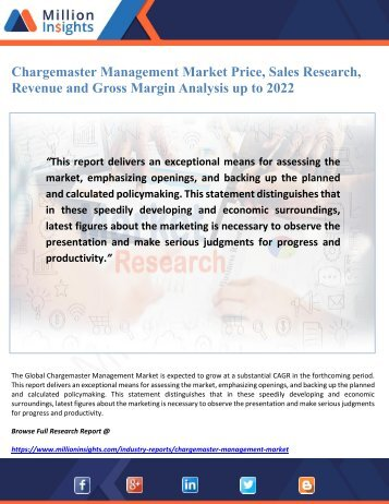 Chargemaster Management Market Price, Sales Research, Revenue and Gross Margin Analysis up to 2022