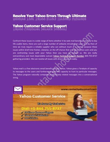 Yahoo Customer Support - To Resolve Yahoo Account Problem
