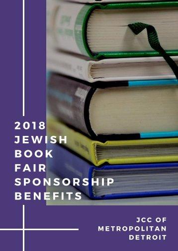 2018 Jewish Book Fair Sponsorship Benefits