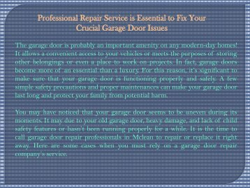 Professional Repair Service is Essential to Fix Your Crucial Garage Door Issues