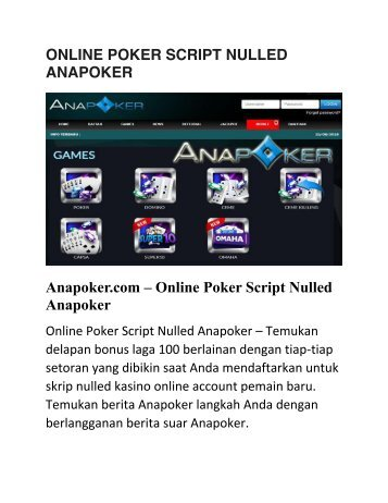 ONLINE POKER SCRIPT NULLED ANAPOKER