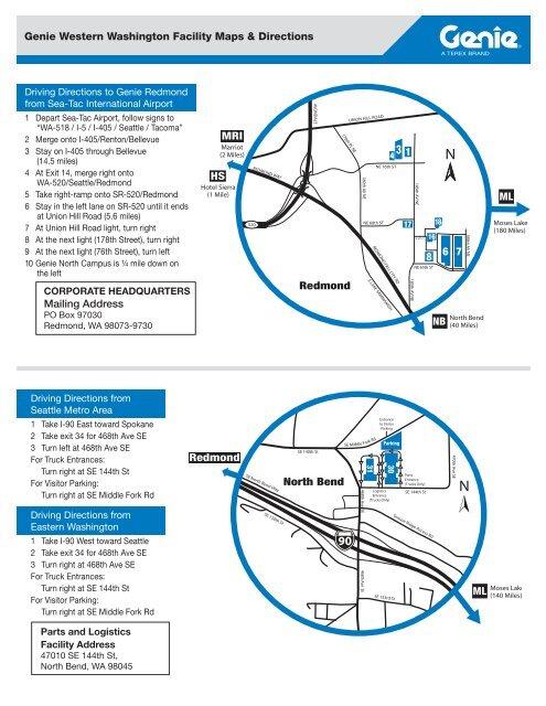 Genie Western Washington Facility Maps & Directions