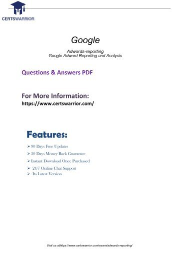 Adwords-reporting Dumps with Real Adwords-reporting PDF Questions Answers 2018