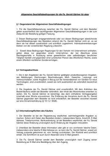 Allgemeine Geschäftsbedingungen für die Fa. Gerold Gärtner für ...