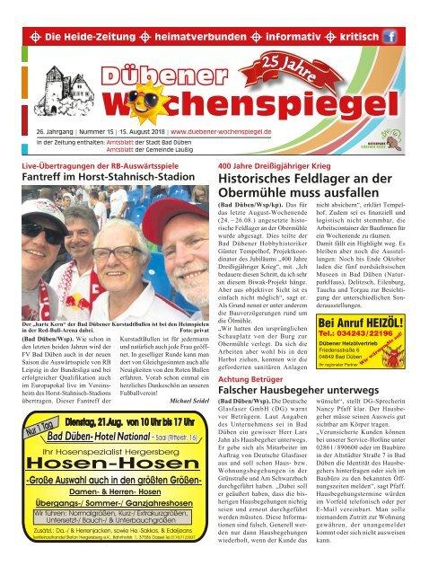 Dübener Wochenspiegel - Ausgabe 15 - Jahrgang 2018