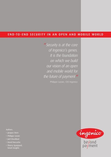Ingenico | End to End Security in an Open and Mobile World