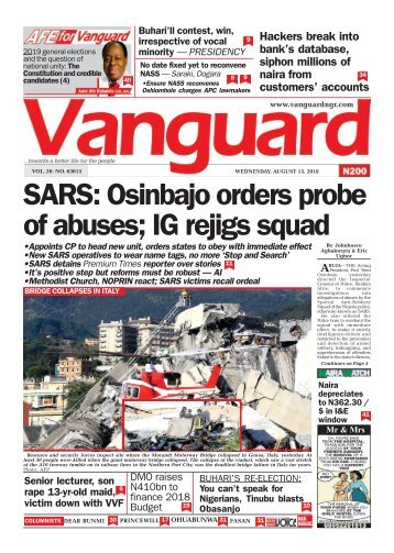 15082018 - SARS: Osinbajo orders probe of abuses; IG rejigs squad