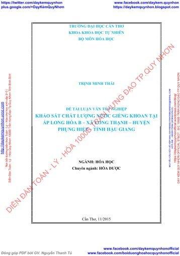 Khảo sát chất lượng nước giếng khoan tại ấp Long Hòa B, xã Long Thạnh, huyện Phụng Hiệp, tỉnh Hậu Giang