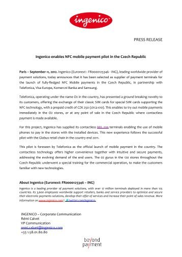 Ingenico enables NFC mobile payment pilot in the Czech Republic