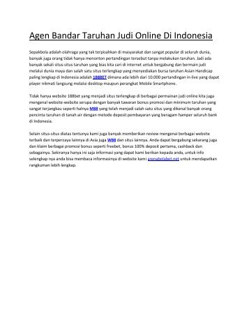 Agen Bandar Taruhan Judi Online Di Indonesia