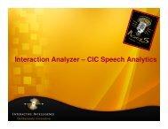 Interaction Analyzer – CIC Speech Analytics - Interactive Intelligence