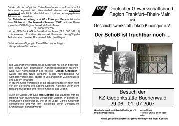 Der Schoß ist fruchtbar noch - Geschichtswerkstatt Jakob Kindinger eV