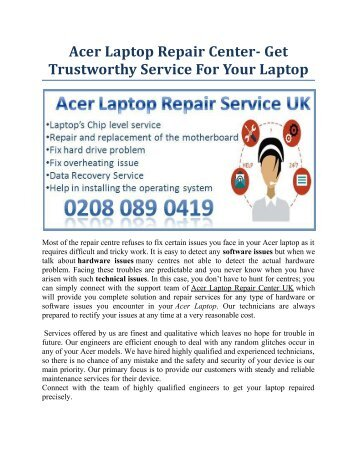 Acer Laptop Repair Center- Get Trustworthy Service For Your Laptop