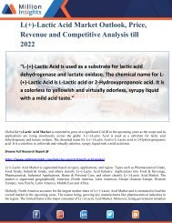 L(+)-Lactic Acid Market Outlook, Price, Revenue and Competitive Analysis till 2022