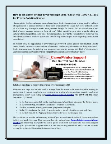 How to Fix Canon Printer Error Message 1688 Call at +61-1800-431-295 for Proven Solution Service