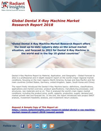 Dental X-Ray Machine Market : Size, Growth, Industry Share, Scope, Analysis And Forecast Report 2018