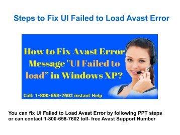 Call 1-800-658-7602 to Fix UI Failed to Load Avast Antivirus