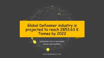 Global Defoamer industry is projected to reach 2853.63 K Tonnes by 2022