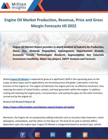 Engine Oil Market Production, Revenue, Price and Gross Margin Forecasts till 2022