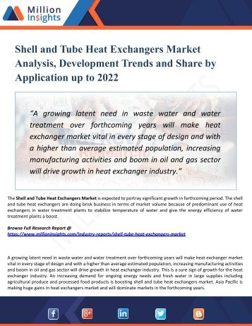 Shell and Tube Heat Exchangers Market Manufacturers, Suppliers and Top Key Players Analysis and Forecast 2022