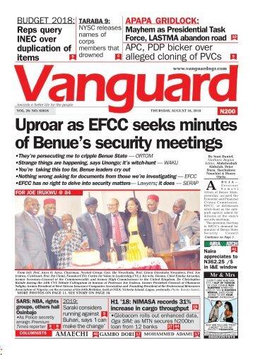16082018 - Uproar as EFCC seeks minutes of Benue's security meetings