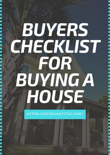 Buyers Checklist for Buying a House
