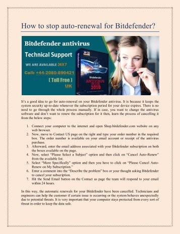 How to stop auto-renewal for Bitdefender?