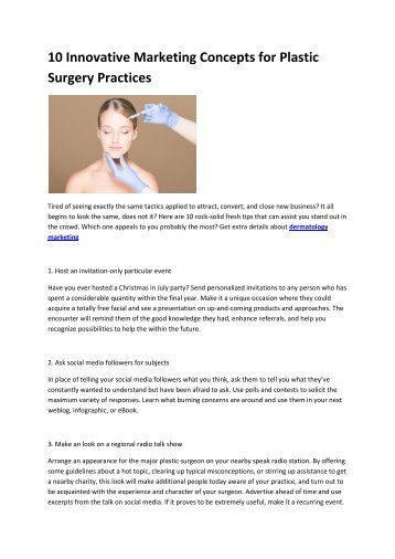 6 online marketing surgery