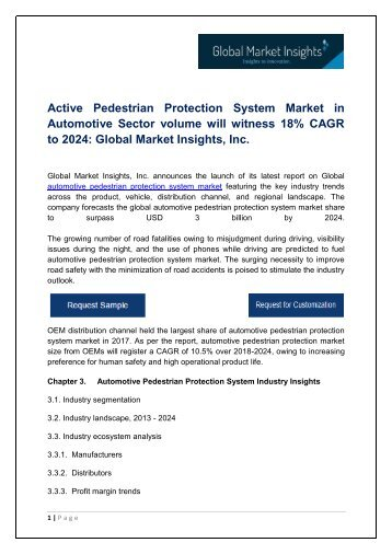 Automotive Pedestrian Protection System Market By Application, Growth Potential & Forecast, 2018 – 2024