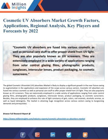 Cosmetic UV Absorbers Market Segmentation and Analysis by Recent Trends