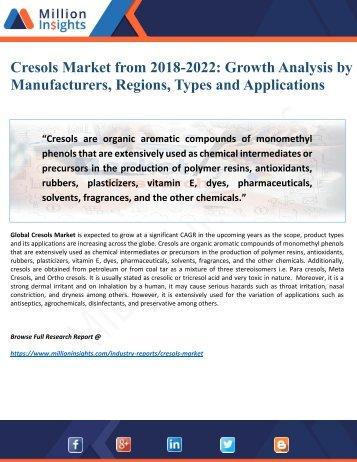 Cresols Market Overview, Industry Top Manufactures