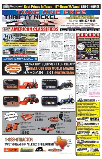 American Classifieds/Thrifty Nickel Aug. 16th Edition Bryan/College Station