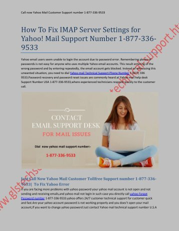 How To Fix IMAP Server Settings for Yahoo! Mail Support Number 1-877-336-9533