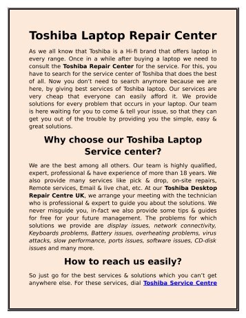 Toshiba Laptop Repair Center