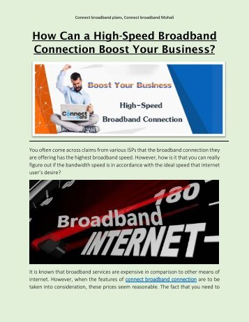 How Can a High-Speed Broadband Connection Boost Your Business