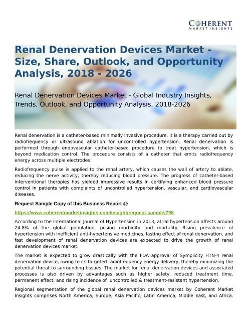 Renal Denervation Devices Market Opportunity Analysis, 2018-2026