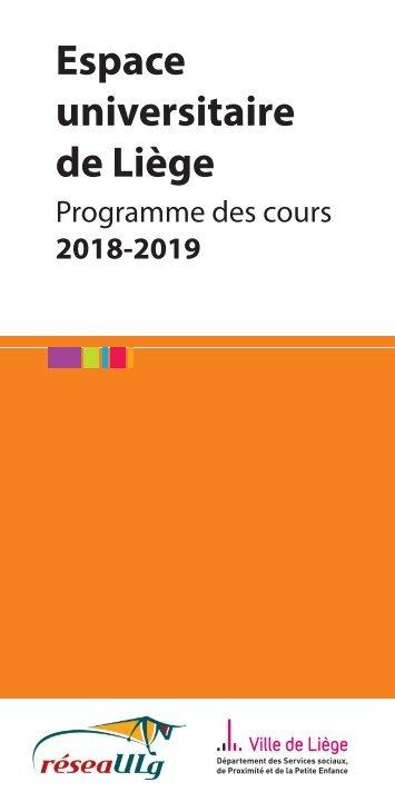 Espace universitaire de Liège - Programme des cours 2018-2019