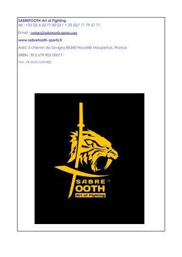 Catalogue Sabretooth armes des Arts Martiaux Japonais Chinois Philippins Brésiliens saison 2018-2019