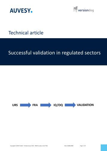 Successful validation in regulated sectors