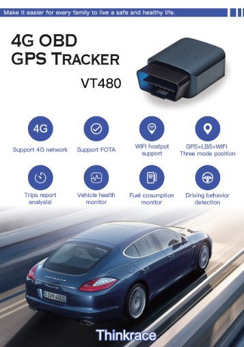 Detect and record driving behavior of your car with VT480 obd tracking device by ThinkRace Technology