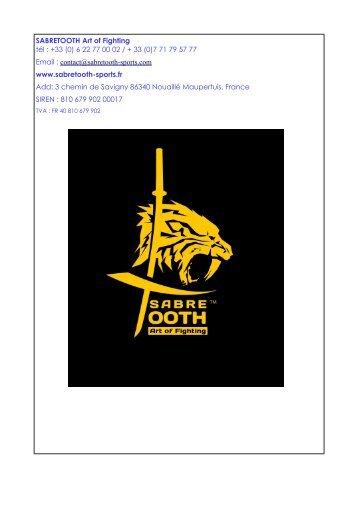 catalogue sabretooth taekwondo +hapkido saison 2018-2019