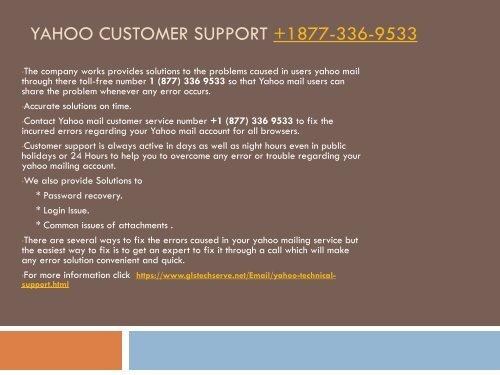 Yahoo customer support +1 877-336-9533