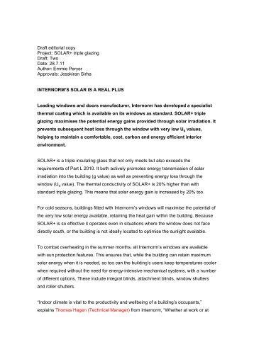 Draft editorial copy Project: SOLAR+ triple glazing Draft: Two Date ...