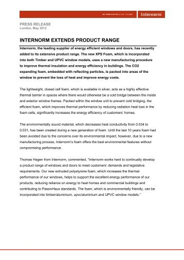 INTERNORM EXTENDS PRODUCT RANGE