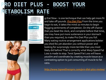 Pro Diet Plus - Boost Your Metabolism Rate