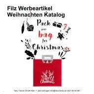 Filz Werbeartikel Weihnachten Weihnachtstaschen Streuartikel Katalog