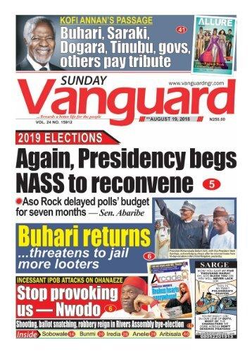 19082018 - Buhari returns ...threatens to jail more looters